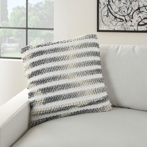 Ombre Woven Stripes Charcoal Throw Pillow on sofa