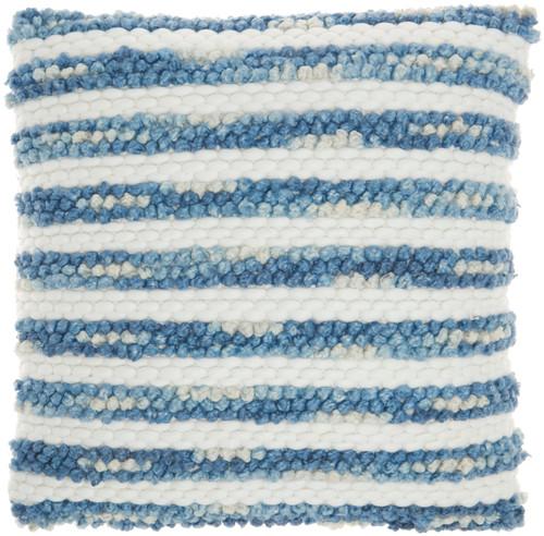 Ombre Woven Stripes Navy Throw Pillow