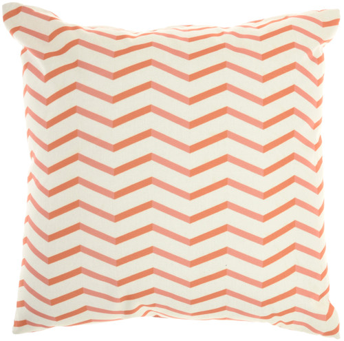 Banana Leaf Coral Orange Indoor-Outdoor Throw Pillow 2
