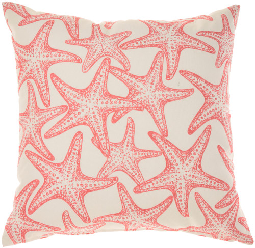 Starfish and Wave Coral Indoor-Outdoor Throw Pillow