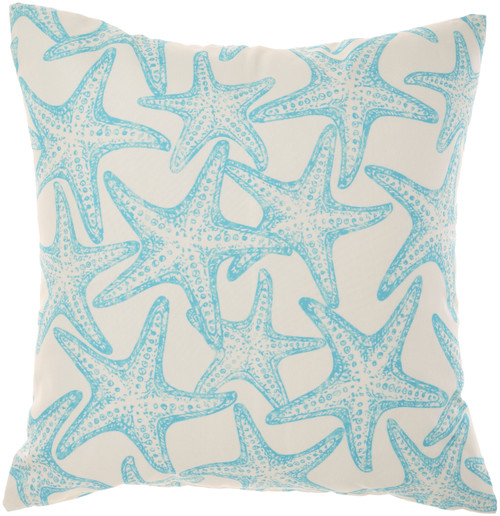 Starfish and Wave Turquoise Indoor-Outdoor Throw Pillow