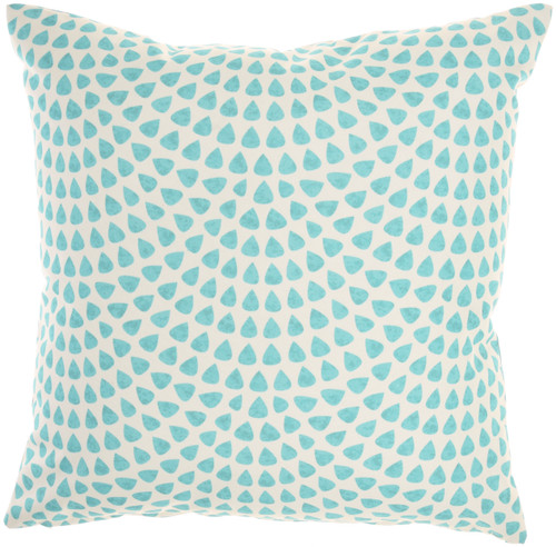 Coral and Dot Turquoise Indoor-Outdoor Throw Pillow reverse
