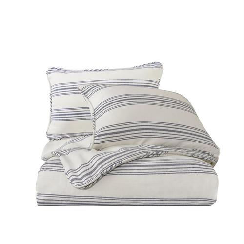 Prescott Navy Ticking Striped King Comforter Set