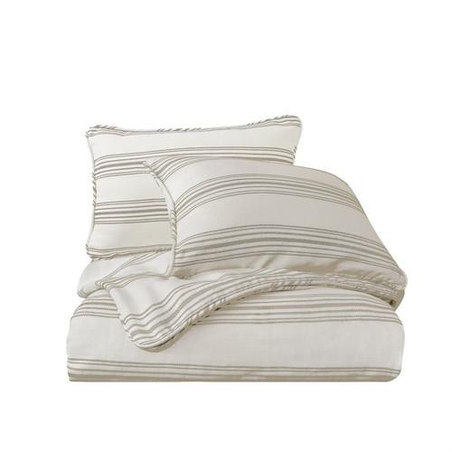Prescott Taupe and Cream Ticking Striped Queen Comforter Set