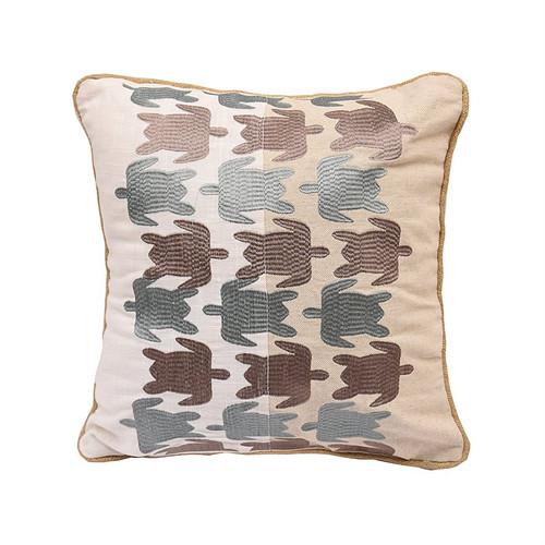 Embroidered Sea Turtle Splash Pillow