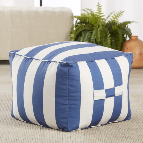 Chatham Indoor-Outdoor Striped Nautical Blue Square Pouf room view