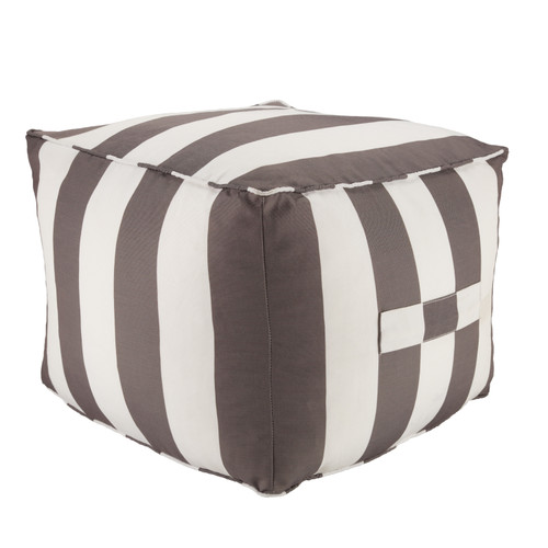 Chatham Indoor-Outdoor Striped Grey and White Pouf