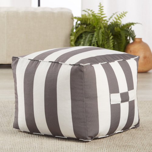 Chatham Indoor-Outdoor Striped Grey and White Pouf room view