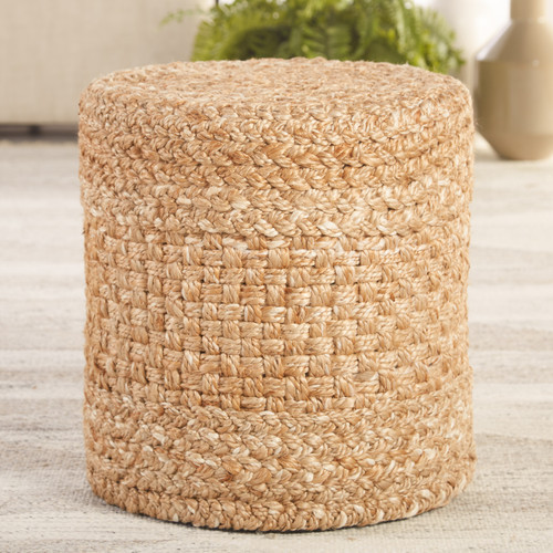 Beachcomber Woven Beige-White Tall Cylinder Pouf room example