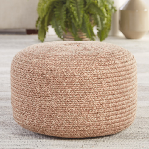 Bodega Bay Indoor-Outdoor Solid Light Tan Cylinder Pouf room view