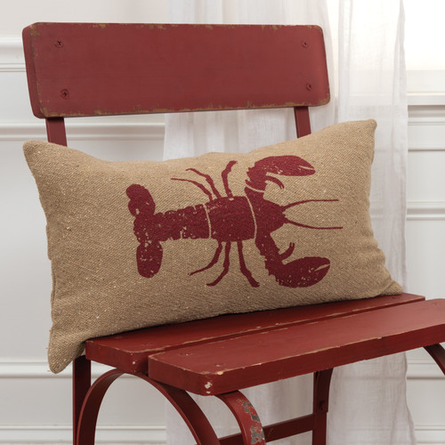 Printed Lobster Burlap Rectangle Pillow chair example