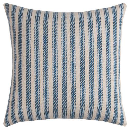 Beach Cottage Blue Ticking Stripe Pillow