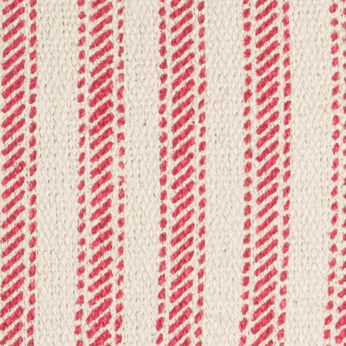 Beach Cottage Red Ticking Stripe Pillow close up fabric