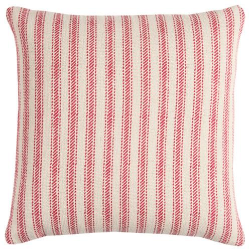 Beach Cottage Red Ticking Stripe Pillow