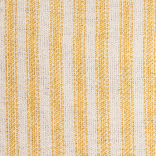 Beach Cottage Yellow Ticking Striped Pillow close up fabric