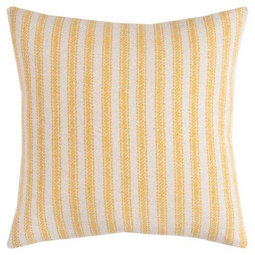 Beach Cottage Yellow Ticking Striped Pillow