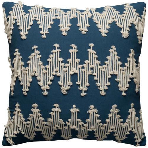 Navy Blue and Cream Chevron MacramC) Pillow