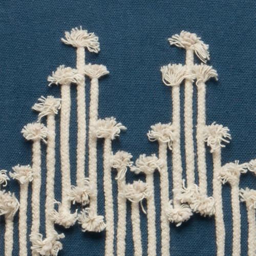 Navy Blue and Cream Chevron MacramC) Pillow details
