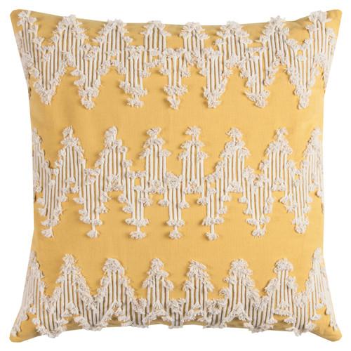 Sunshine and Cream Chevron MacramC) Pillow