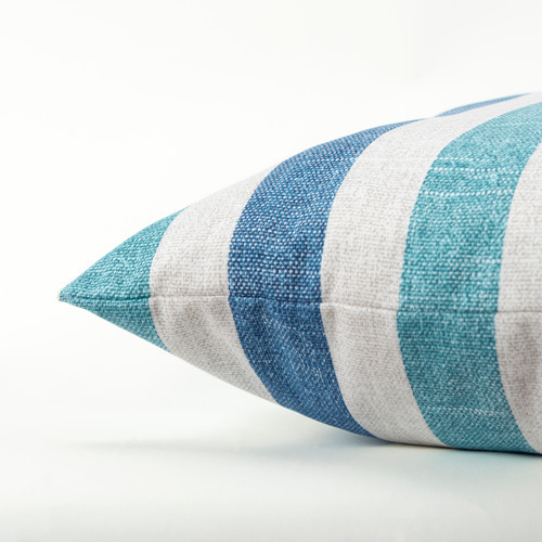Blue and Turquoise Cabana Stripes 22 x 22 Pillow side view
