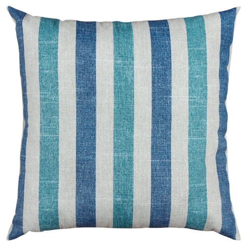 Blue and Turquoise Cabana Stripes 22 x 22 Pillow