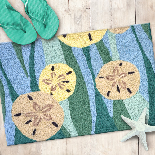 Sand Dollars and Waves Accent Rug front door view