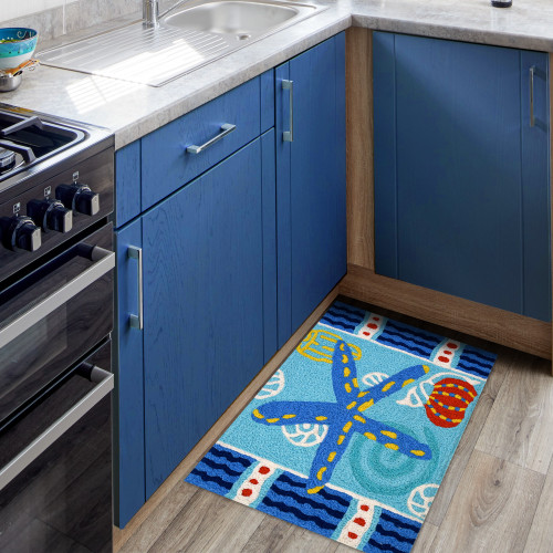 Teal Starfish Accent Rug kitchen view