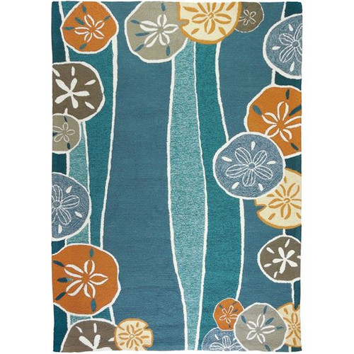 Blue Beachcomber Shells Coastal Rug