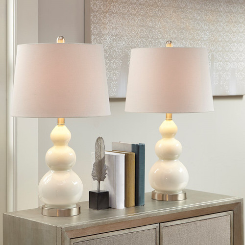 Secret Cove Table Lamps - Set of Two light on