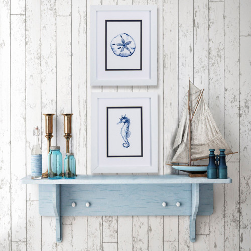 Blue Seahorse and Sand Dollar Prints- Set of Two lifestyle