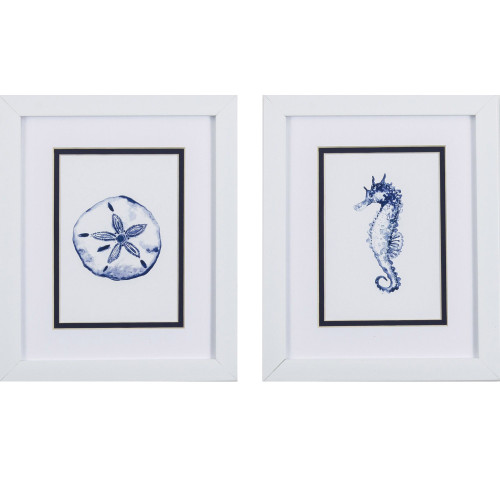 Blue Seahorse and Sand Dollar Prints- Set of Two