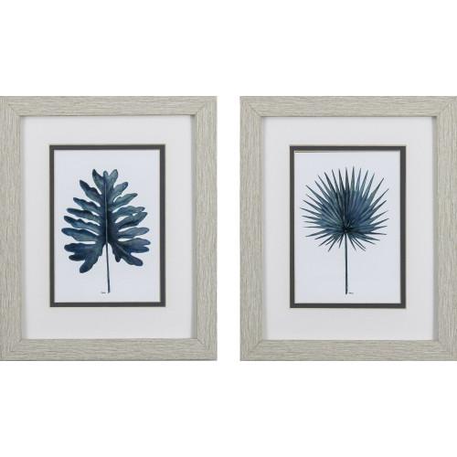 Deep Blue Coastal Leaf Prints- Set of Two