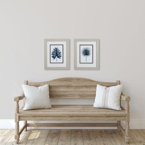 Deep Blue Coastal Leaf Prints- Set of Two room example