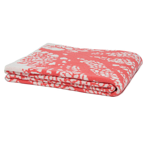 Fan Coral Knit Throw in Cream and Coral Pink folded