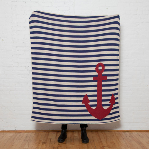 French Stripe Anchor Marine Knit Throw