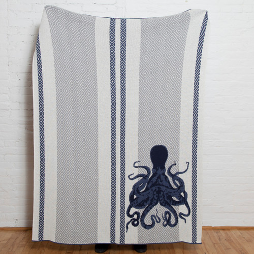 Blue Octopus and Stripes Knit Throw