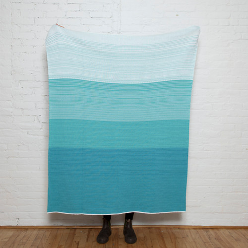 Poly Ombre Water Blue and Mint Knit Throw