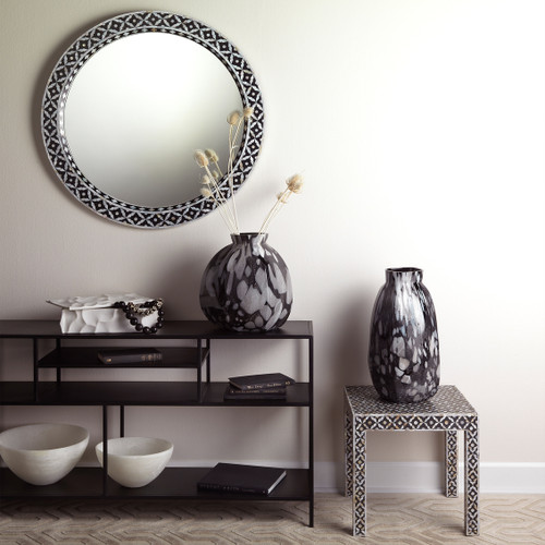 Evelyn Glam Mother of Pearl Round Mirror room 1