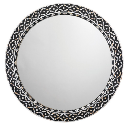 Evelyn Glam Mother of Pearl Round Mirror