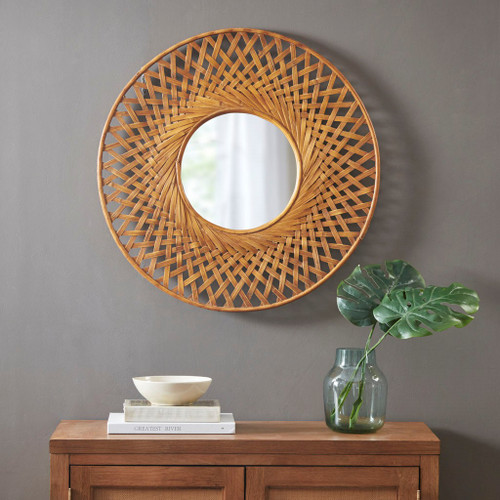 Reed Woven Round Bamboo Wall Mirror room example