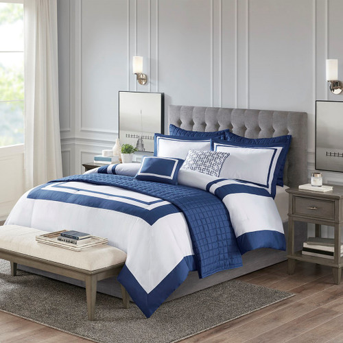 Admiralty Navy and White 8-Piece Comforter Set view 1