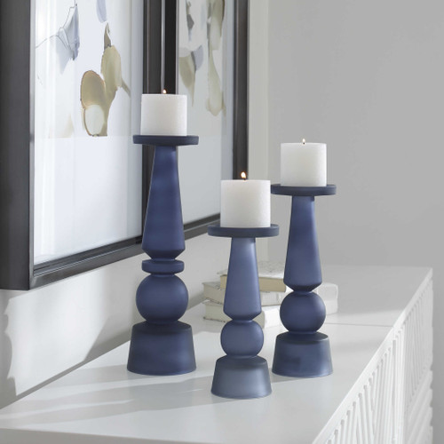 Cassiopeia Midnight Blue Glass Candleholders- Set of Three lifestyle