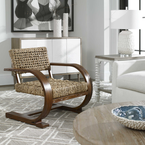 Rehema Natural Woven Accent Chair sideview