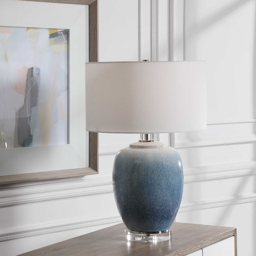 Blue Waters Ceramic Table Lamp lifestyle light on