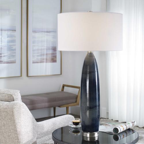 Deep Blue Ocean Table Lamp room view