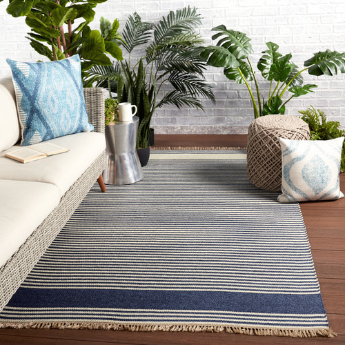 Morro Bay Navy Blue and Ivory Striped Rug room example