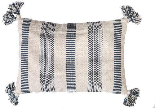 Barrett Inky Blue Striped Tasseled Pillow
