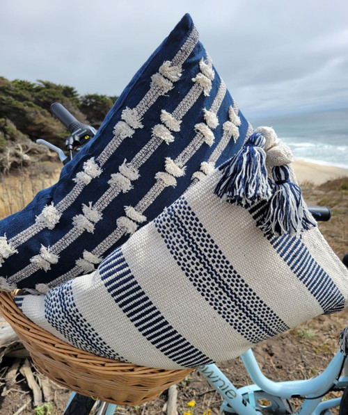 Point Arena Striped Tasseled Pillow with hidden cove