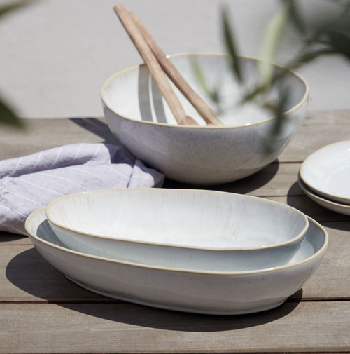 Eivissa Sand Beige Small Oval Baker with larger size and bowl