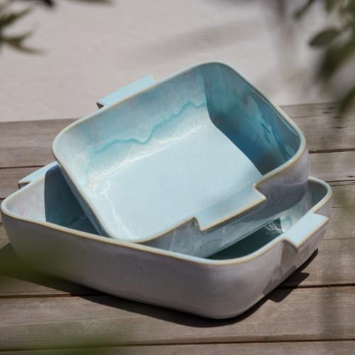 Eivissa Sea Aqua Rectangle Baking Dish with square dish